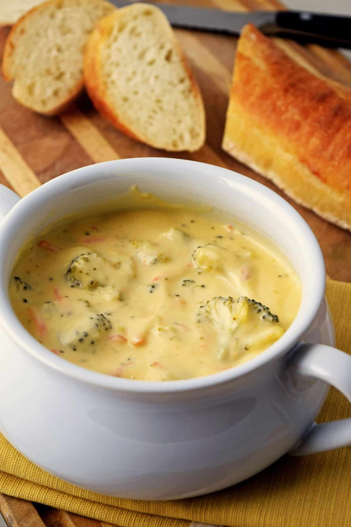 This soup is extremely simple to make but the end result is just awesome. I use my jug blender to really get the broccoli mixture very smooth then once combined with the milk, I put it all back in the blender and give it a good minute to get it silky smooth. I serve it with a swirl of cream and Total Time: 35 mins.