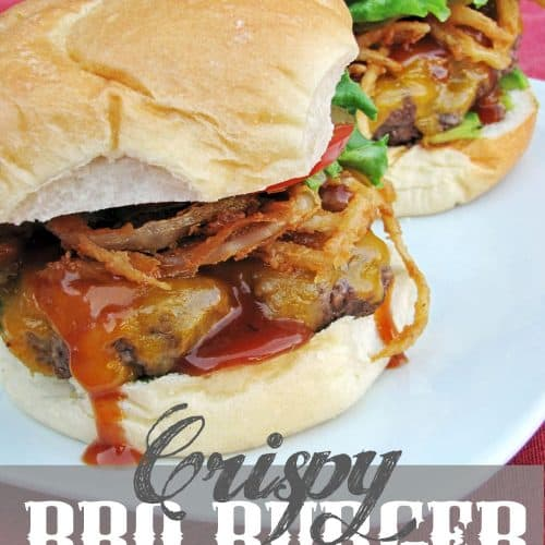 Crispy BBQ Burger - Cheeseburger featuring Kraft Medium Cheddar, Mesquite Smoke BBQ sauce, Crispy Mesquite Onion Strings, and Avocado slices to make the perfect summer grilling meal