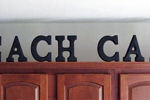 Decorating above the Kitchen Cabinets with Wood Block Letters