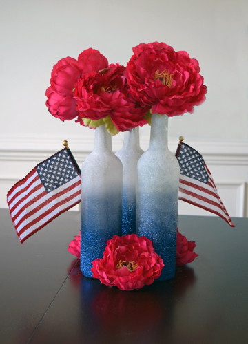 DIY patriotic Centerpiece with ombre blue glitter bottles