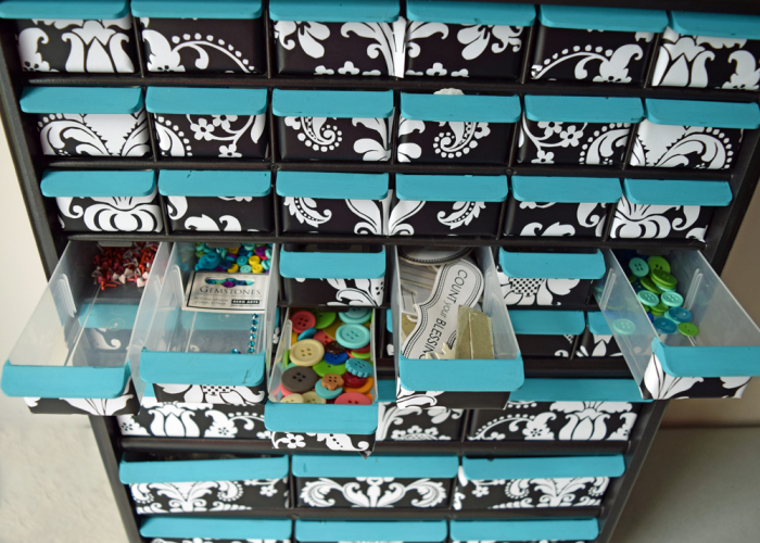 Decorating a multi-drawer cabinet for storage