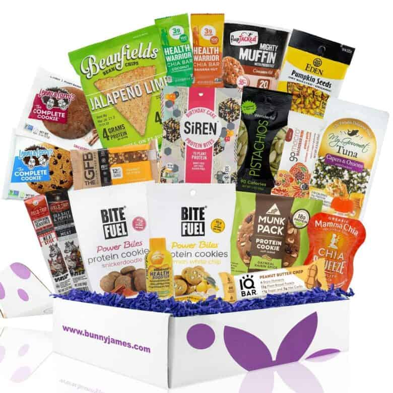 Collection of Healthy Snacks in a gift basket.