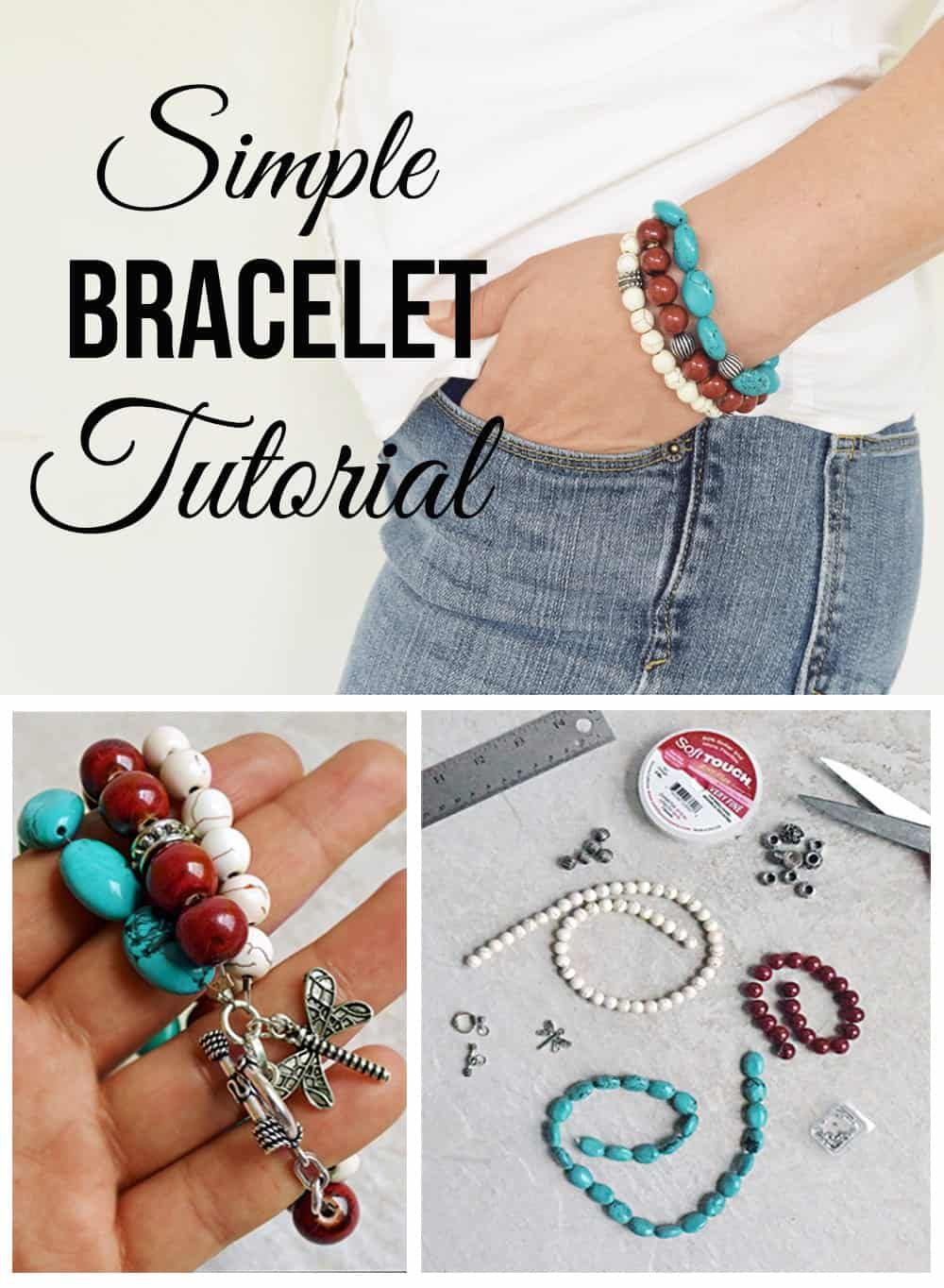 Simple DIY bracelet collage with supplies and completed bracelet on woman's wrist.