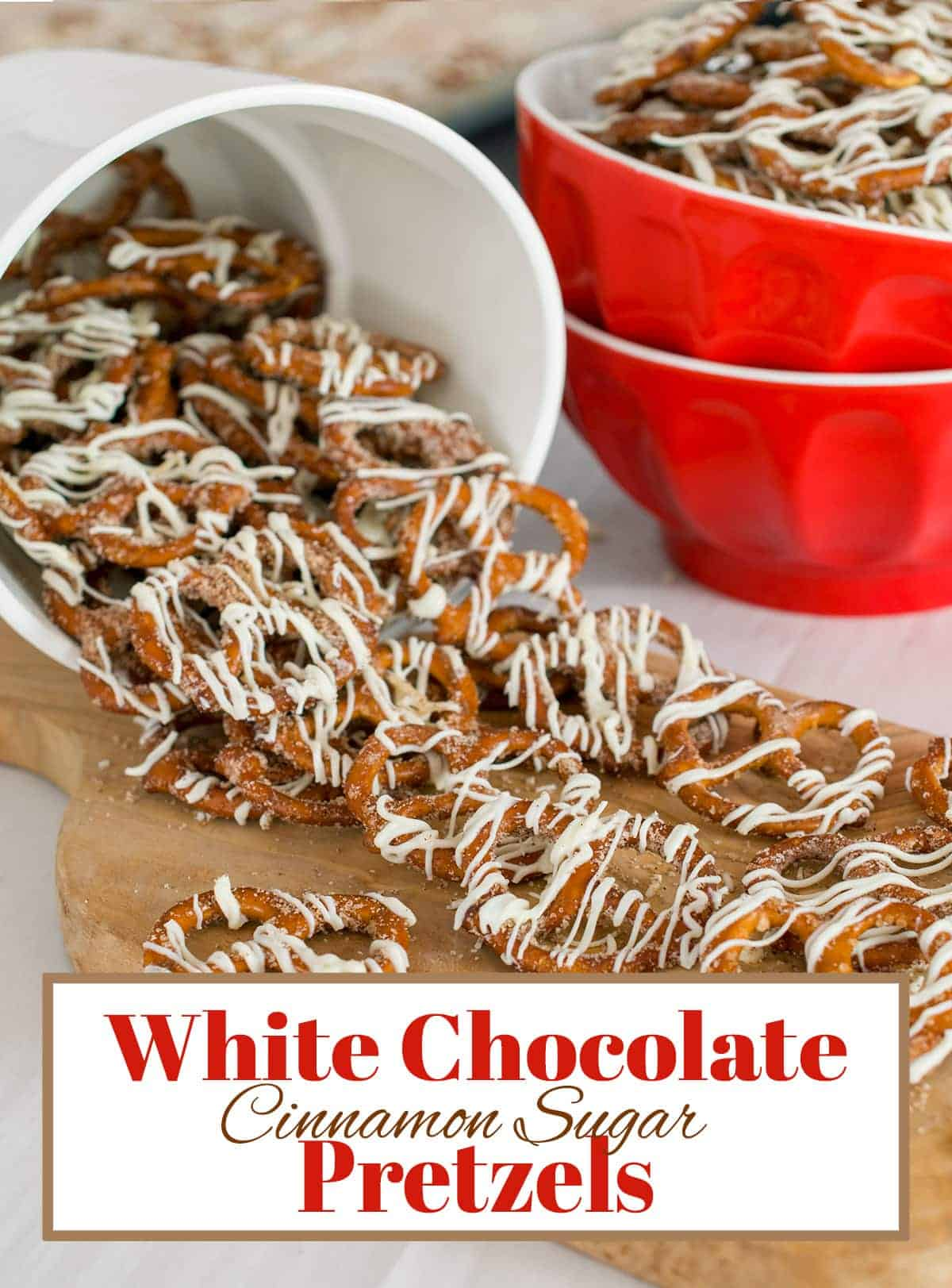 Seriously Addicting! Easy dessert or snack mix for parties. Cinnamon Sugar Pretzels with white chocolate drizzled over them