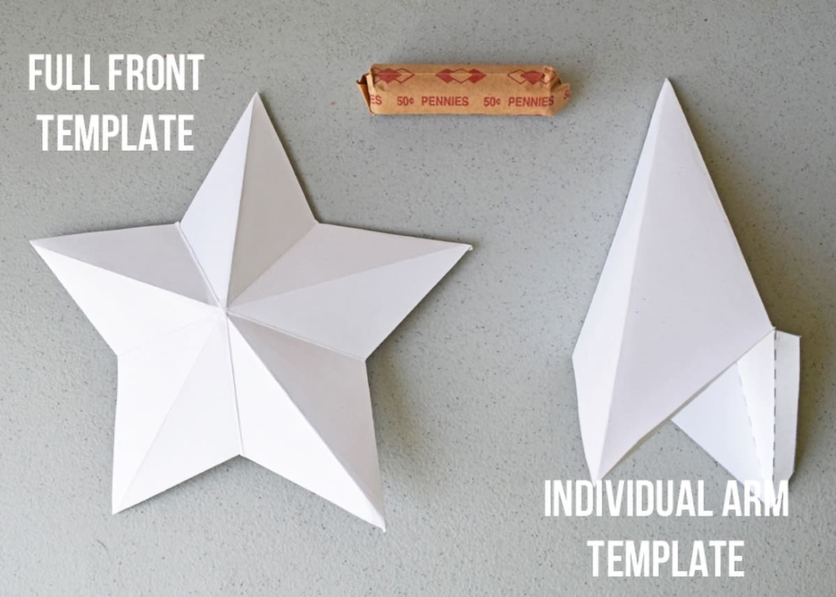 2 kinds of 3-D star templates with examples and links to template
