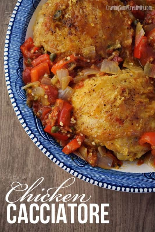 Chicken Cacciatore Recipe - A rustic pan fried chicken recipe with peppers, onions, capers, and tomatoes. Flavorful and delicious for the whole family. Also makes amazing leftovers for lunch.