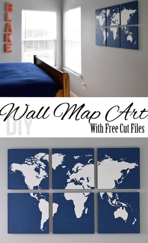 Create a stunning graphic wall art piece with wood and a world map silhouette. Tutorial for world map wall art including a Free cut file for each segment of the map.