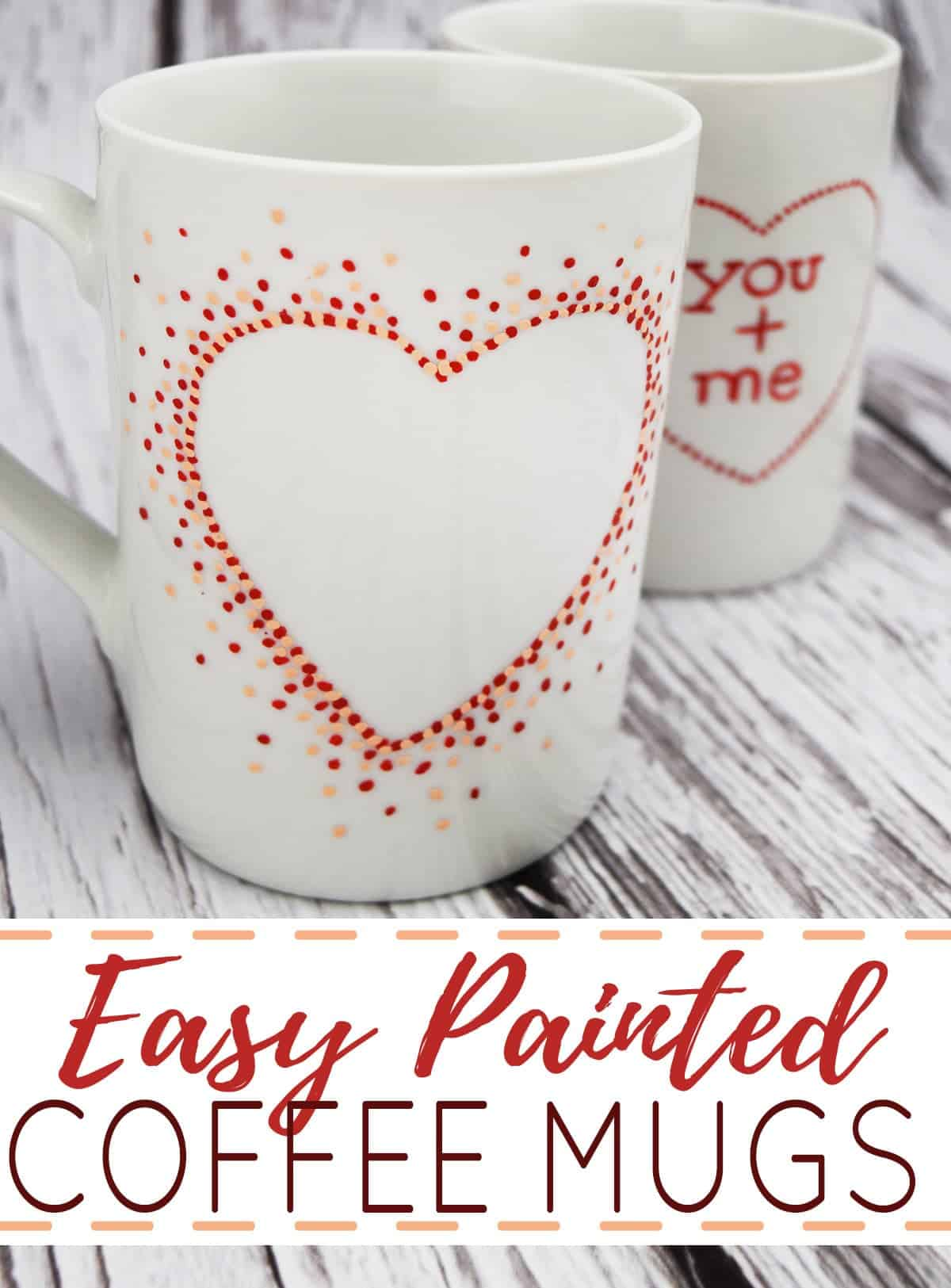 White ceramic coffee mugs with hand painted polka dot heart shapes on white wood planks.