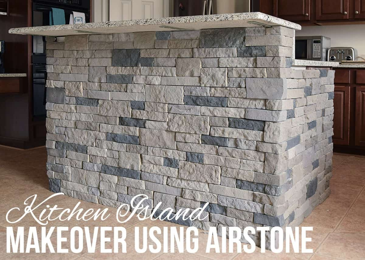 Kitchen Island or Breakfast Bar Makeover. Tutorial using Airstone to create a faux stone look in the kitchen.