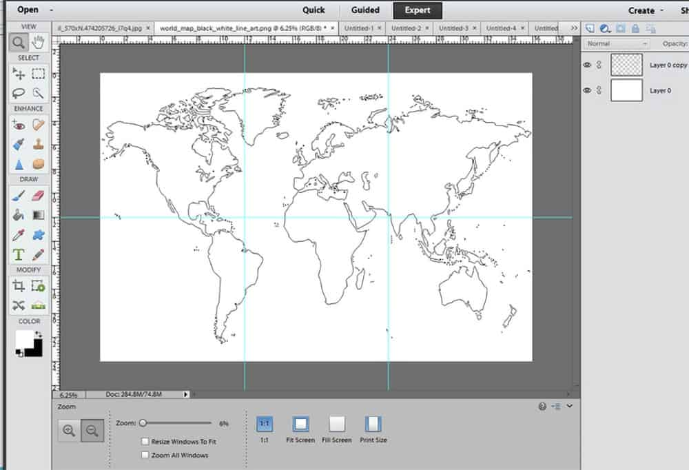 Photoshop design of world map divided into 6 sections.