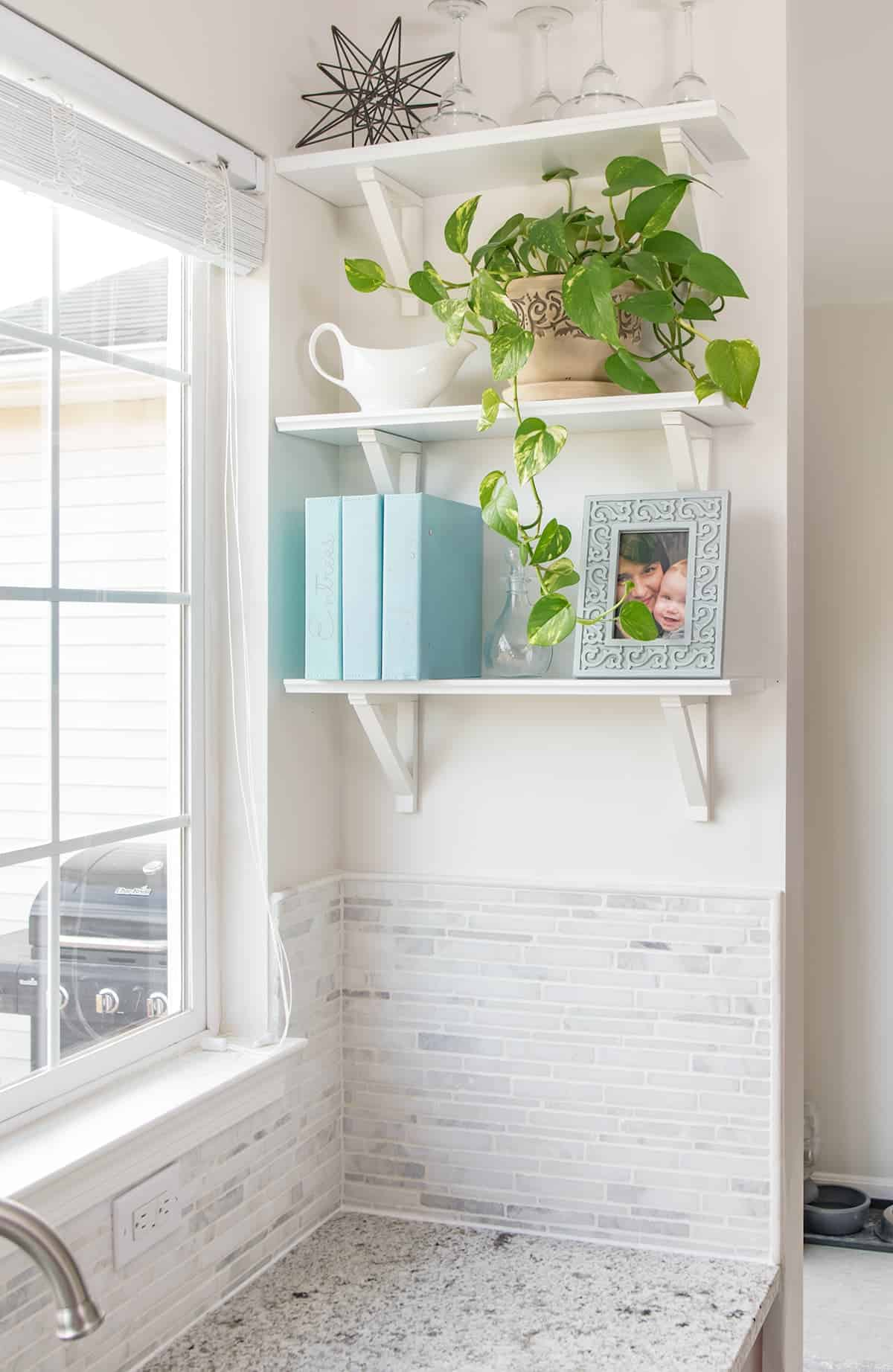 Kitchen window view by light neutral backsplash, white wall, and white free-floating shelves with potted plant, framed picture, and set of cookbooks.