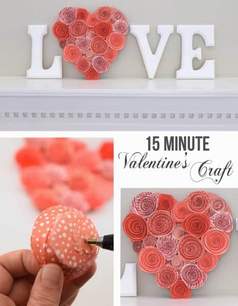 15 minute valentine's day mantle decor. This valentine's craft is super simple and makes your mantle more festive for the holiday of LOVE!