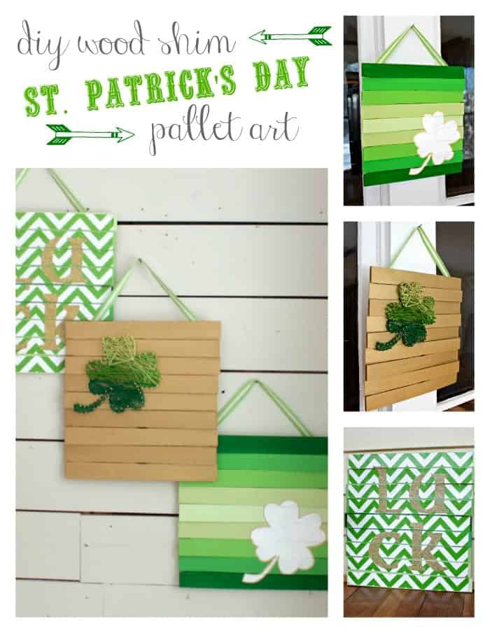 Hanging pallet art painted green and white with stripes, chevron designs, and shamrocks hanging from white plank wall.