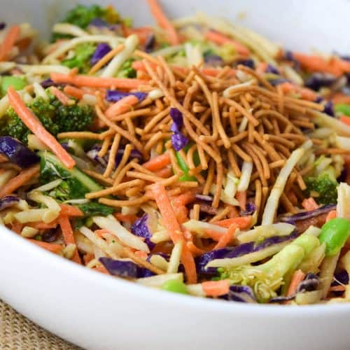 Asian Broccoli Slaw Salad with Ginger Peanut Dressing.
