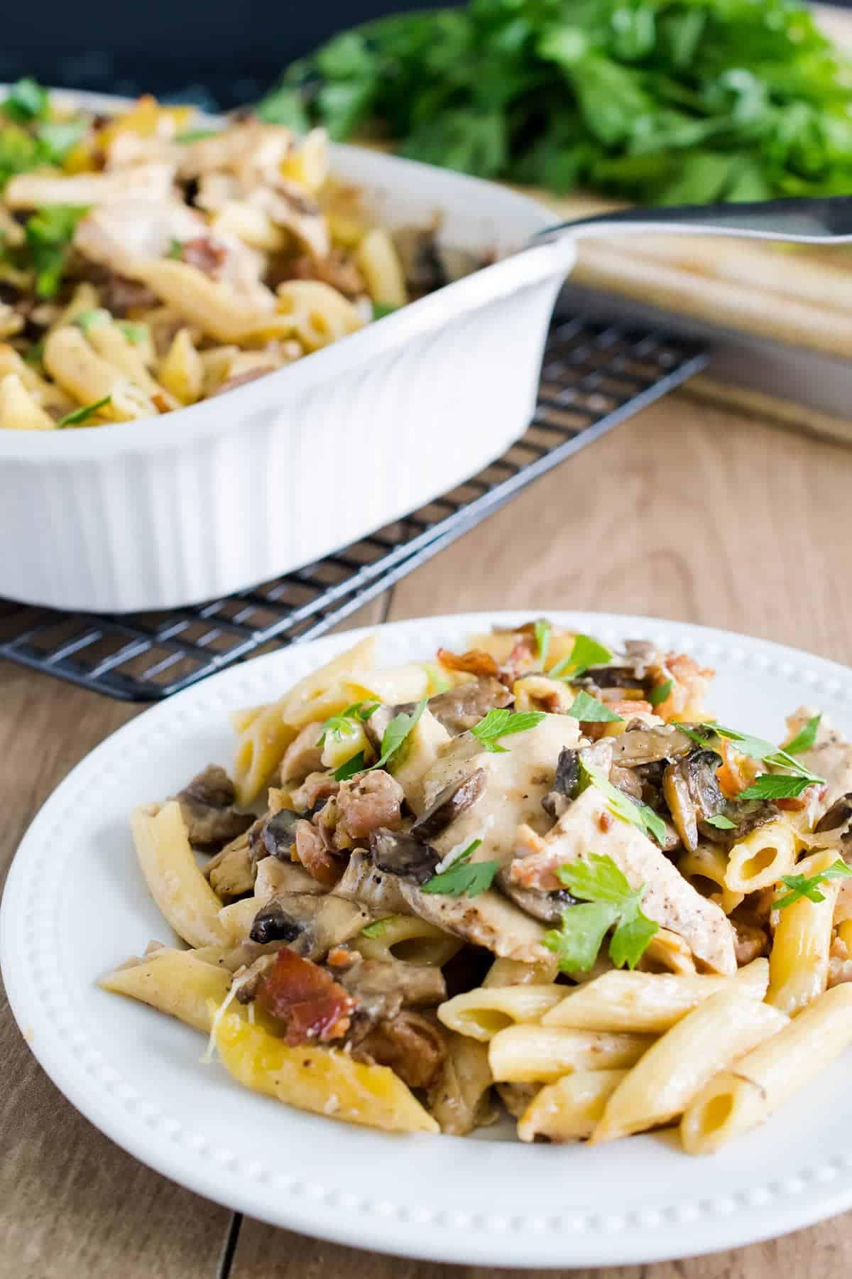 Chicken marsala pasta bake - mushrooms, prosciutto, and creamy Parmesan cheese sauce on white plate