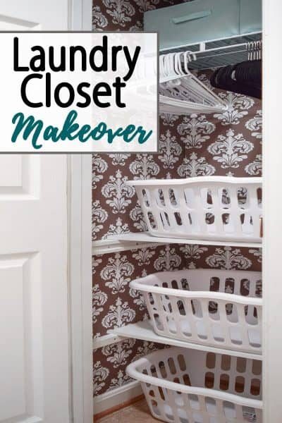 Laundry Closet Makeover - Turning a broom closet into a functional space to stack laundry in baskets