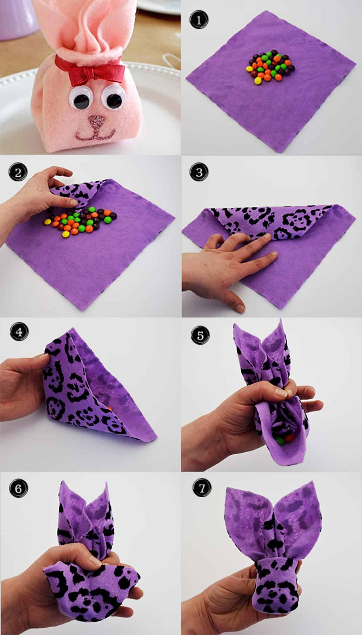Steps of folding fabric or napkin into a bunny shape filled with candy.