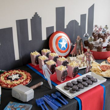 Avengers Party Ideas for a movie marathon featuring thor, iron man, captain america, and the whole gang from the avengers movies.