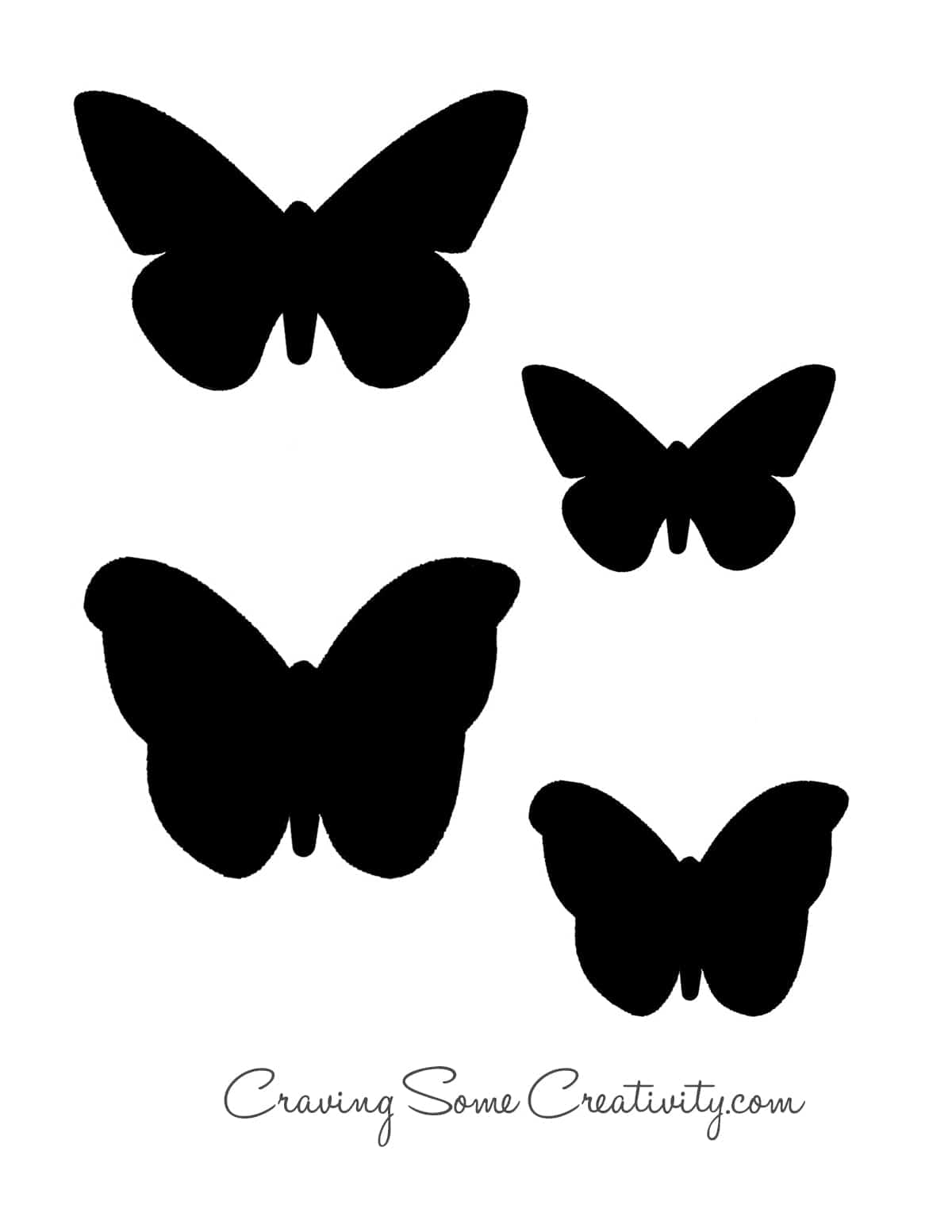 Printable butterfly template with black butterfly silhouettes.