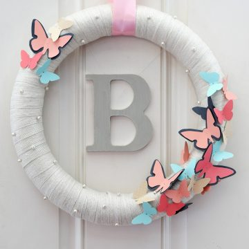 DIY Butterfly Wreath with Monogram in the center of the wreath. Butterfly Template included.