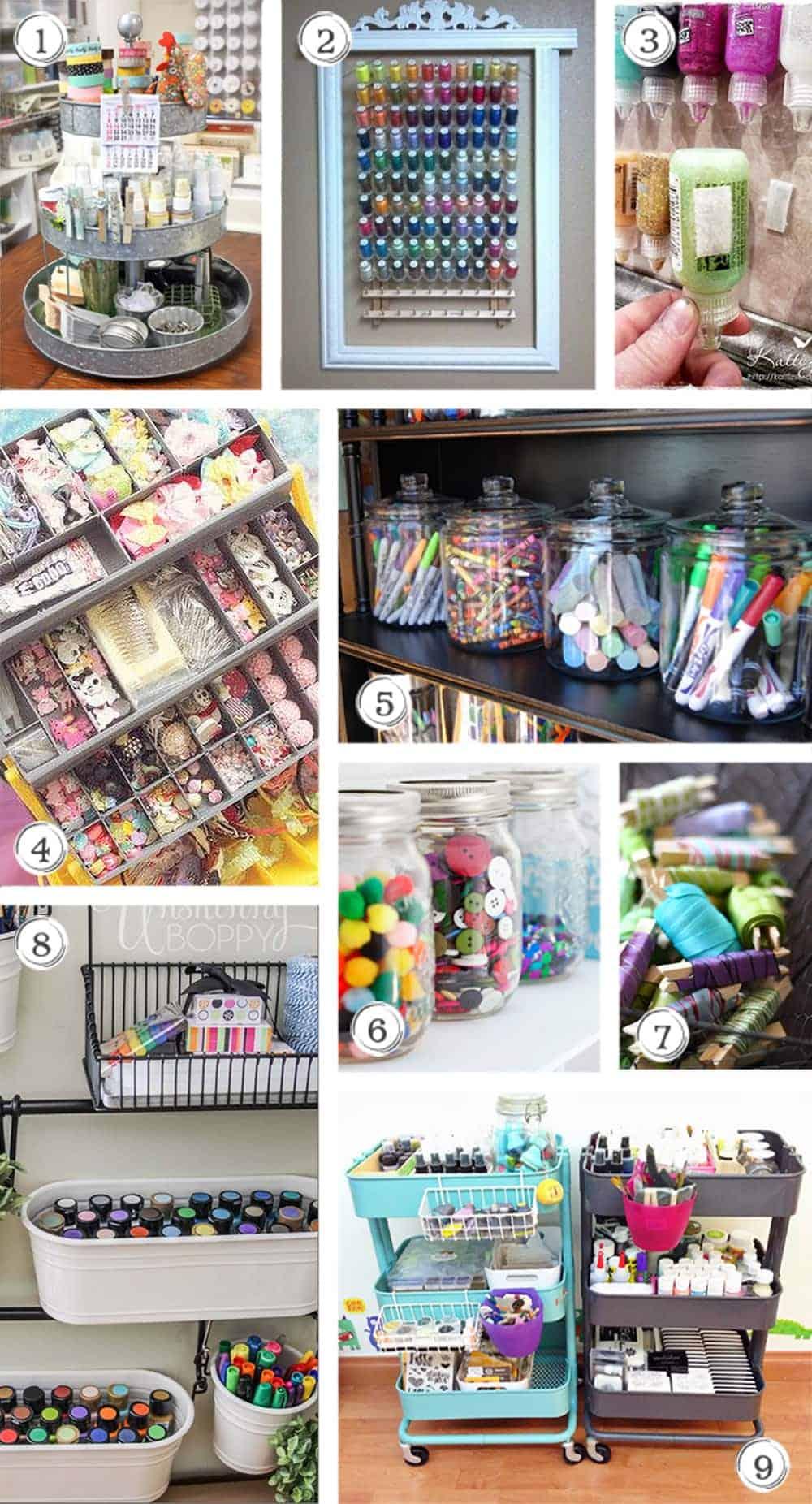 Collage of craft supply storage ideas.