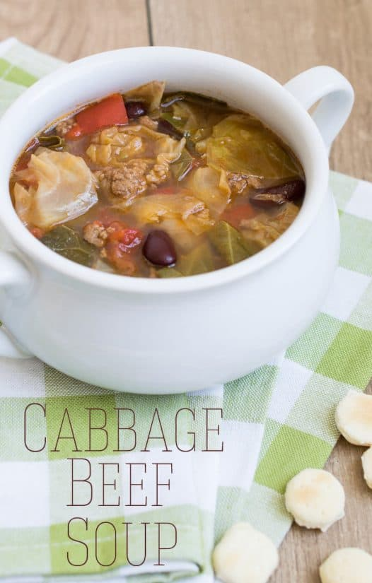 Cabbage Beef Soup Recipe - This hearty soup makes a perfect meal. It's like a veggie filled chili with tomatoes and cabbage.