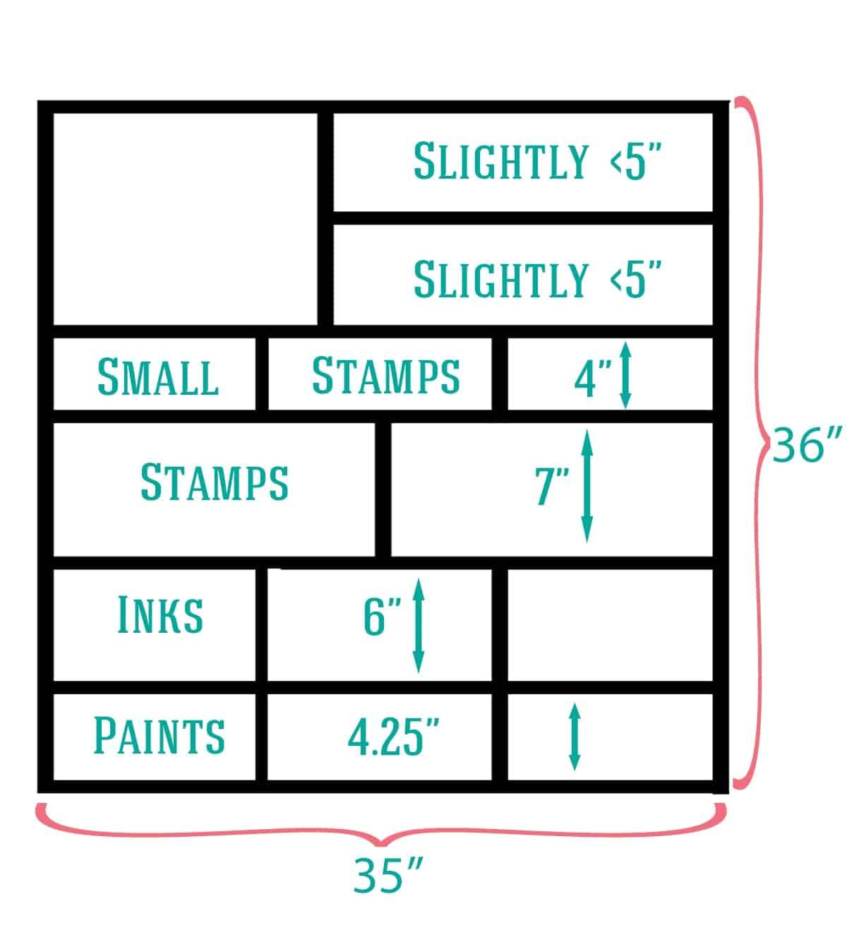 Craft supply shelf measurements graphic
