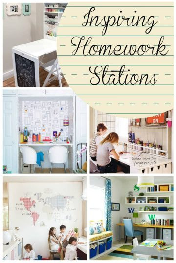 Collage of homework stations and children's desks including maps, chairs, and study aids.