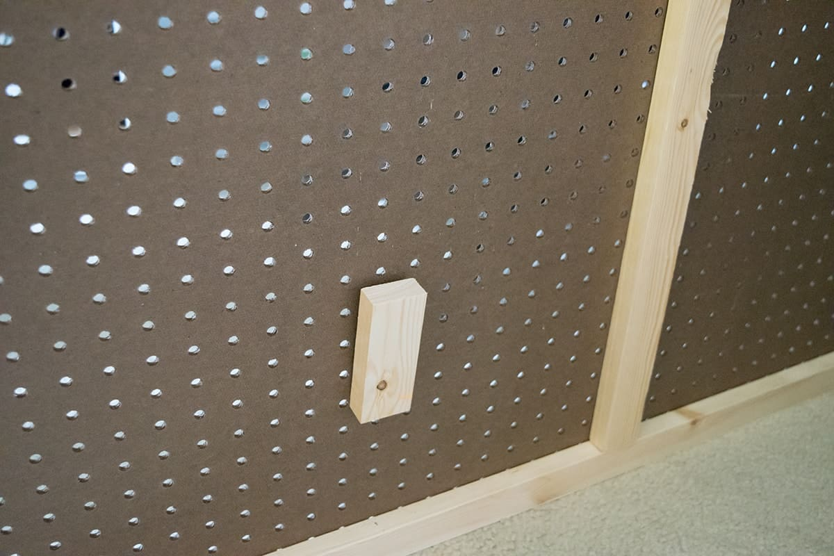 Back of pegboard with wood frame attached.