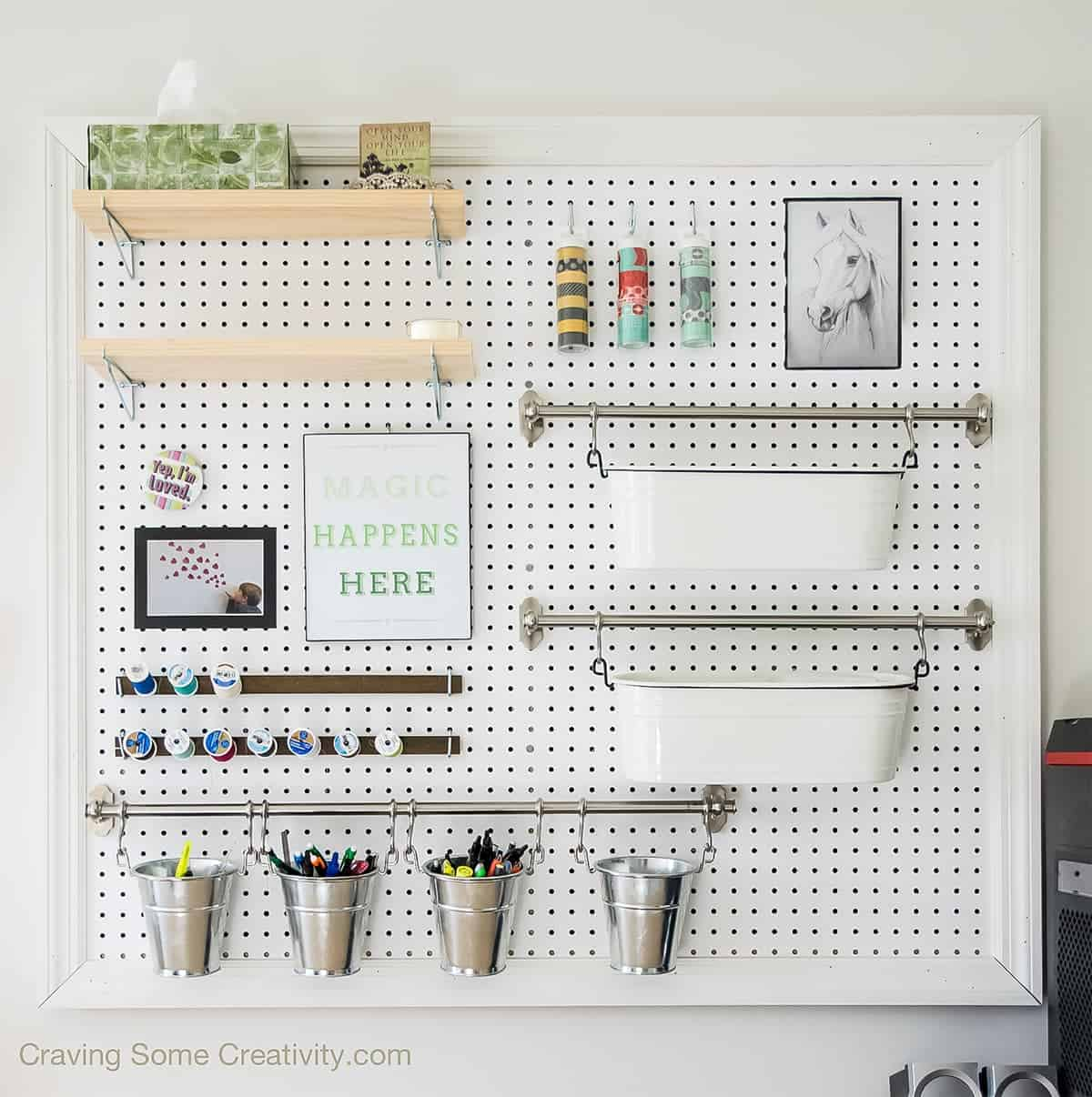 how to build a pegboard craft supplies pegboard organizer On craft room pegboard accessories