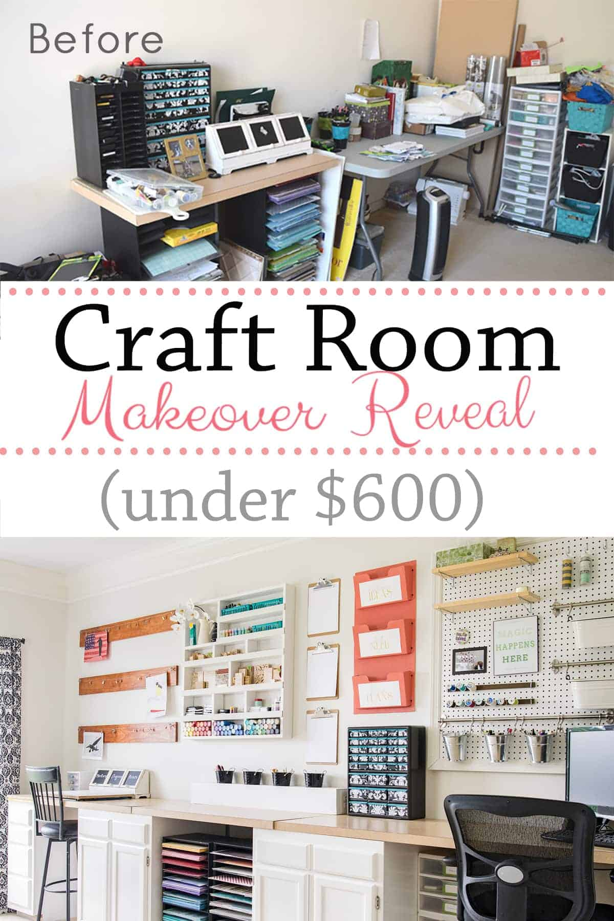 Before and after of white organized craft room makeover with DIY storage projects,