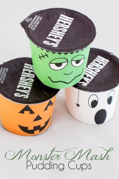 FREE Halloween Printable pudding cup covers. Make food fun with these cute and spooky Frankenstein, Ghost, and Jack-o-lantern monsters.