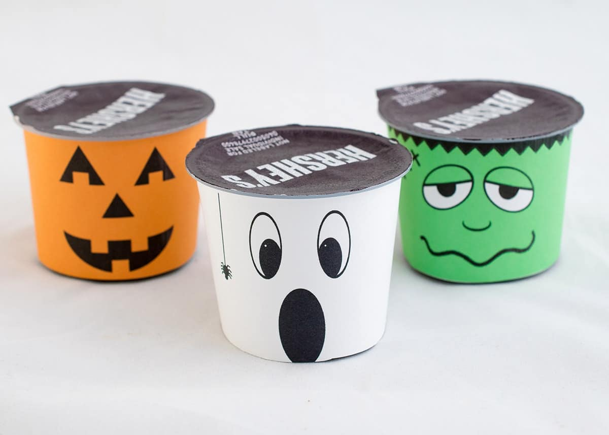 Printable Halloween wrappers-pumpkin, ghost, and Frankenstein with white background.