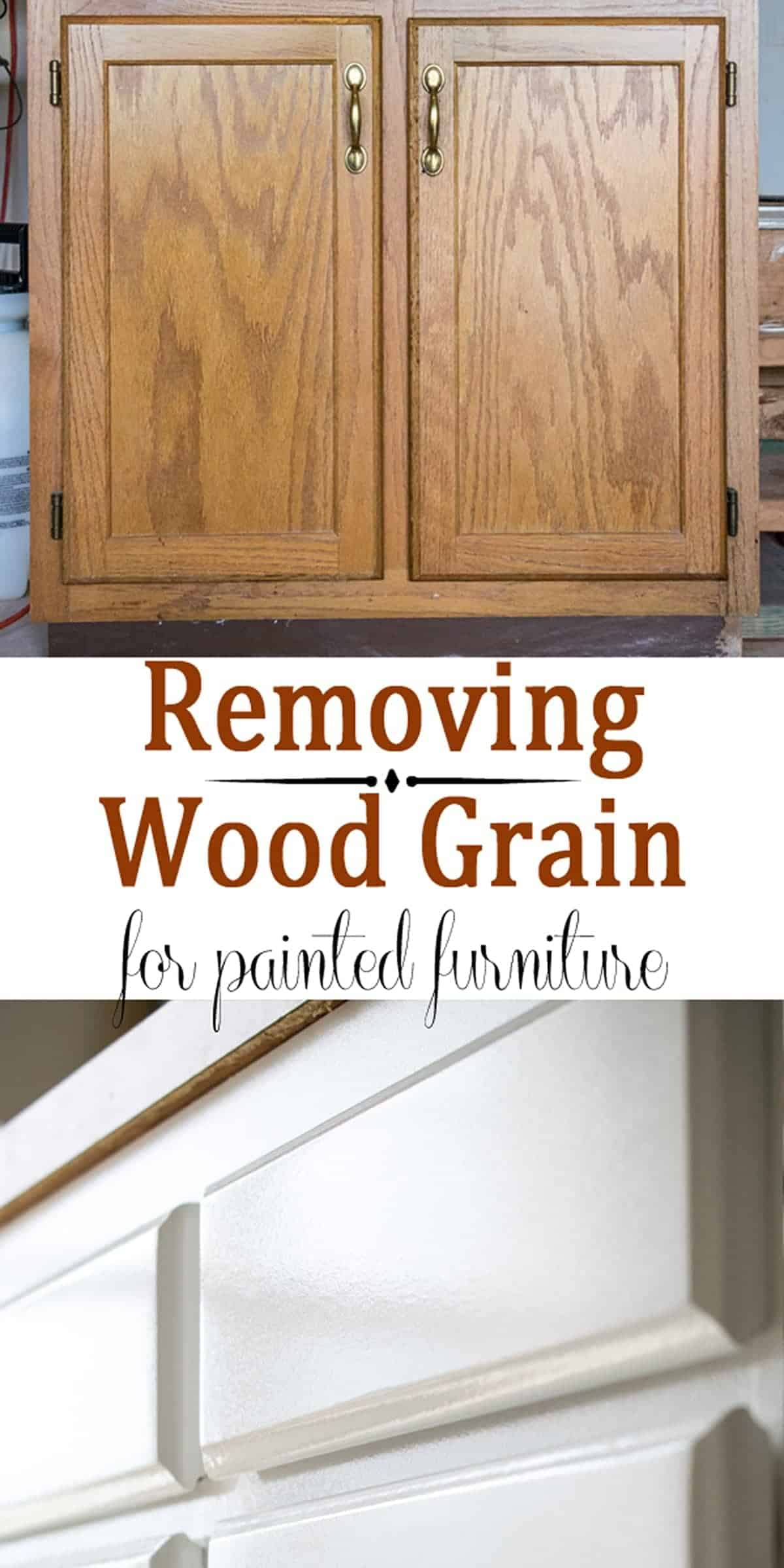 Before and after painting oak wood cabinet with filled wood grain and painted white.