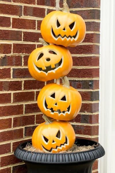 Stacked Pumpkin Heads - Pumpkin Topiary for Halloween Front Door Decorations