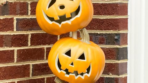 Stacked Pumpkin Heads - Pumpkin Topiary for Halloween Front Door Decorations