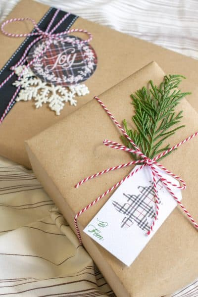 Christmas Presents with Free Printable Plaid Christmas Tags