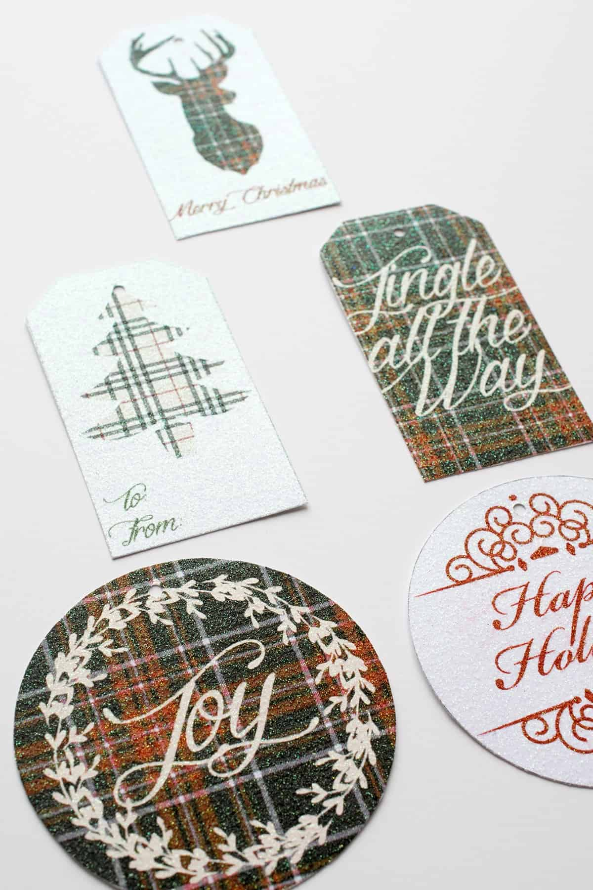 Free Printable Gift Tags - Christmas Plaid Gift Tags. These are wonderfully easy and printed on Core'dinations printable glitter paper.
