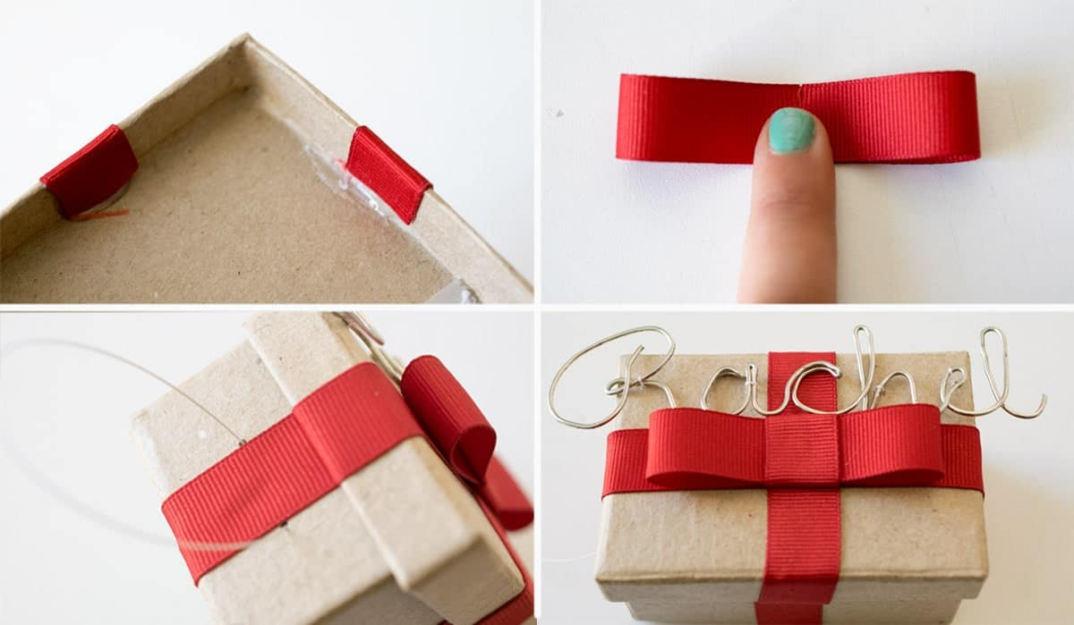 How to wrap a tiny gift box with ribbon and tie with a bow. This one is small enough to make an adorable ornament. You can write the name or make cursive names with wire like this example.