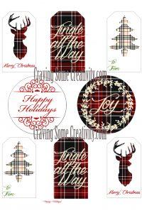 Free Printable Holiday Gift Tags- Christmas Plaid Edition.