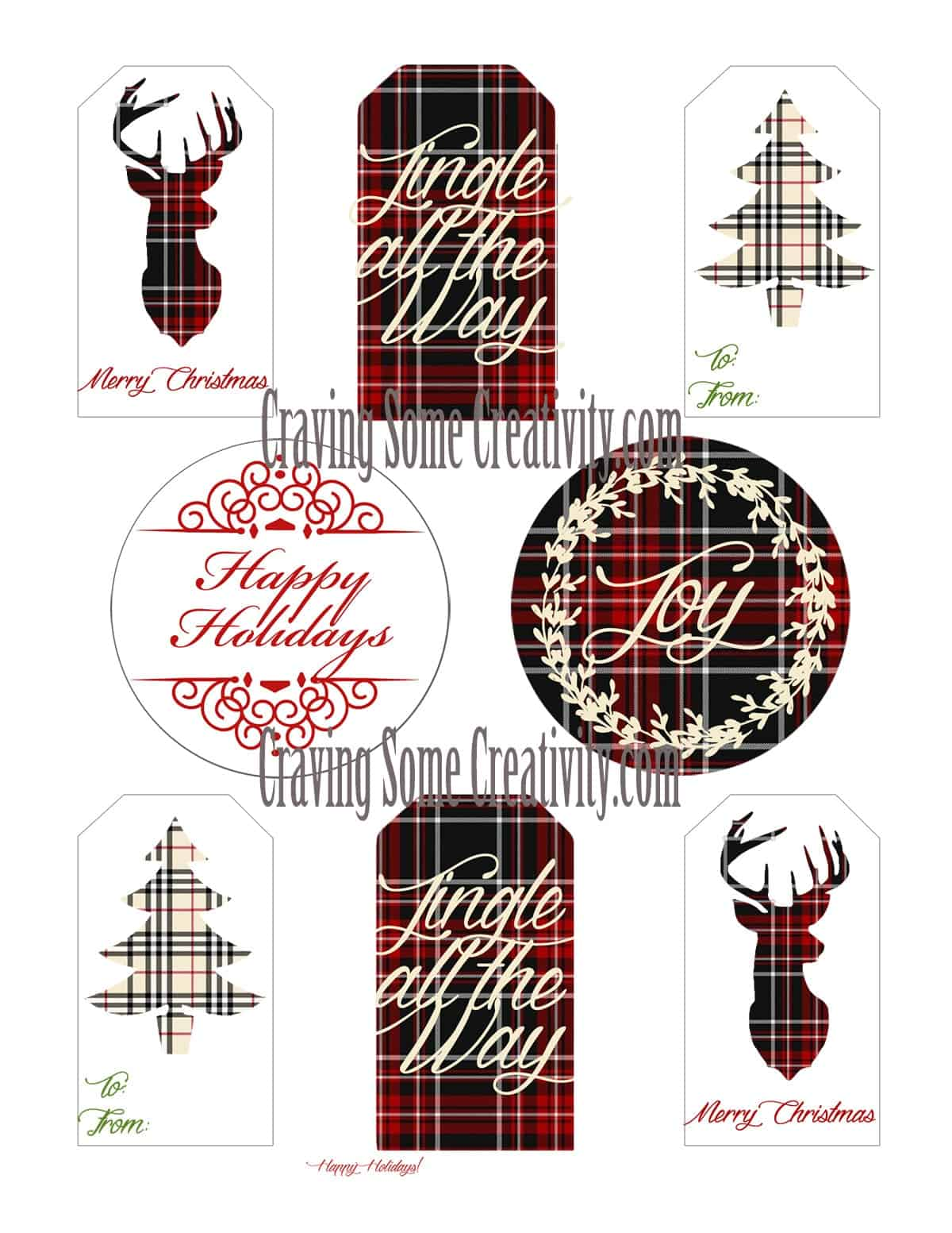 Free Printable Plaid Holiday Gift Tags