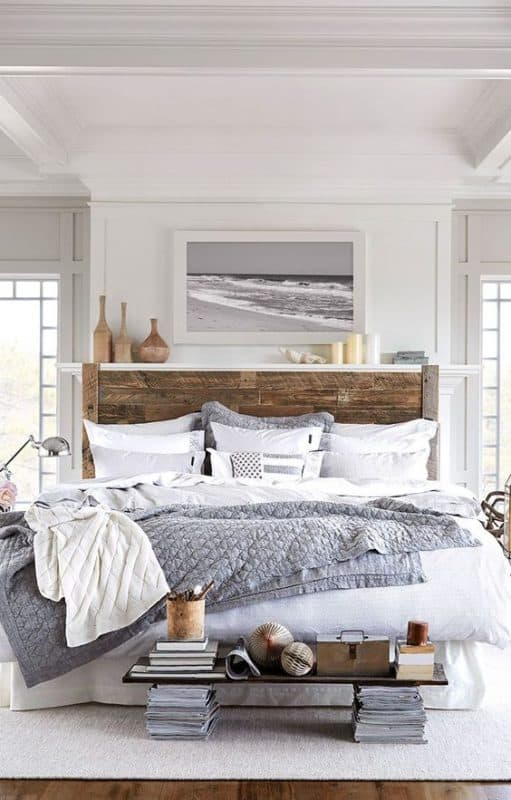 GREAT neutral bedroom with beach decor vibe. Grey and white master bedroom with rustic headboard