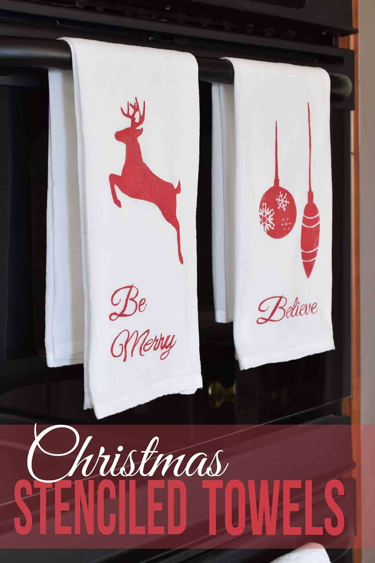 Christmas Stenciled Tea Towels - Free Christmas Silhouette Icons to create stencils including jumping reindeer, ornaments, Christmas Tree silhouettes, and text. Files are available in PDF and free silhouette studio cutfiles