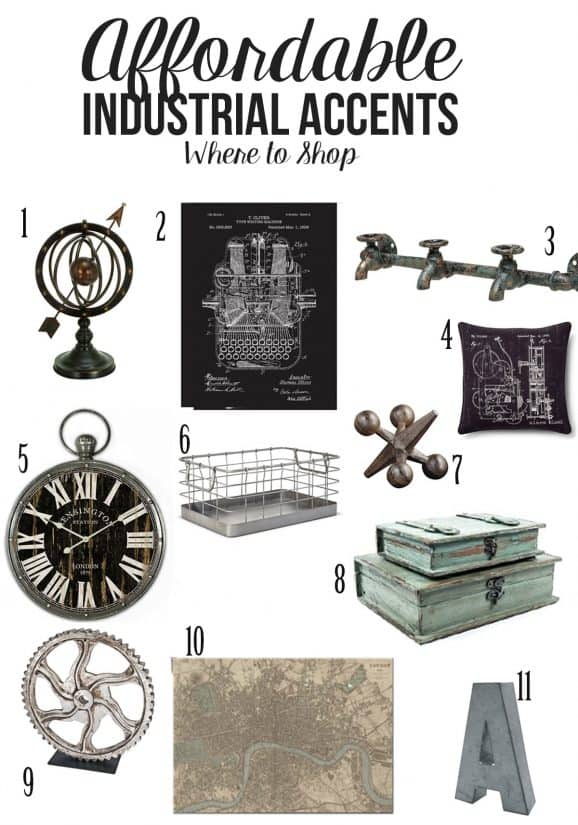 Collage of affordable industrial decor accent ideas.