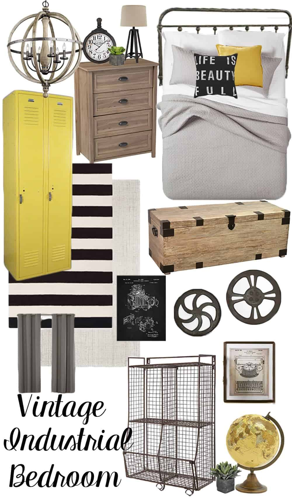 Collage of vintage industrial bedroom decor ideas.
