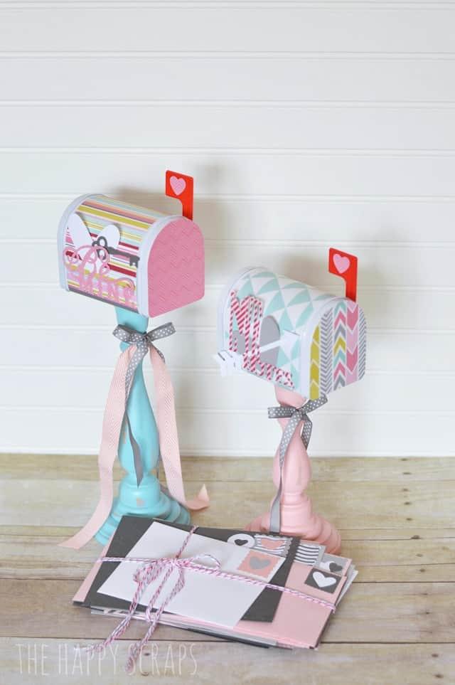 Candle stick mailbox crafts for valentines in pastel colors