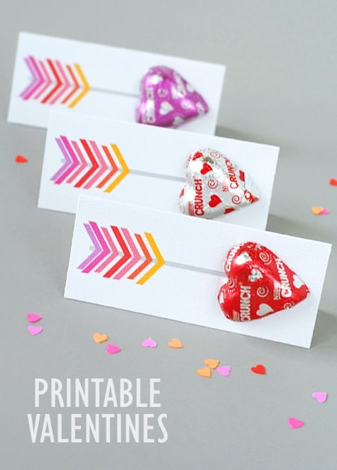 Cupids Arrow Free Printable valentine's with chocolate heart shaped candies