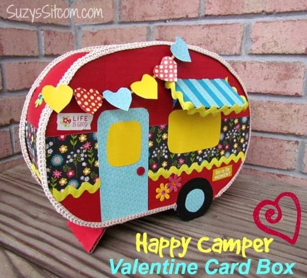 Retro camper inspired cardboard Valentines card box craft