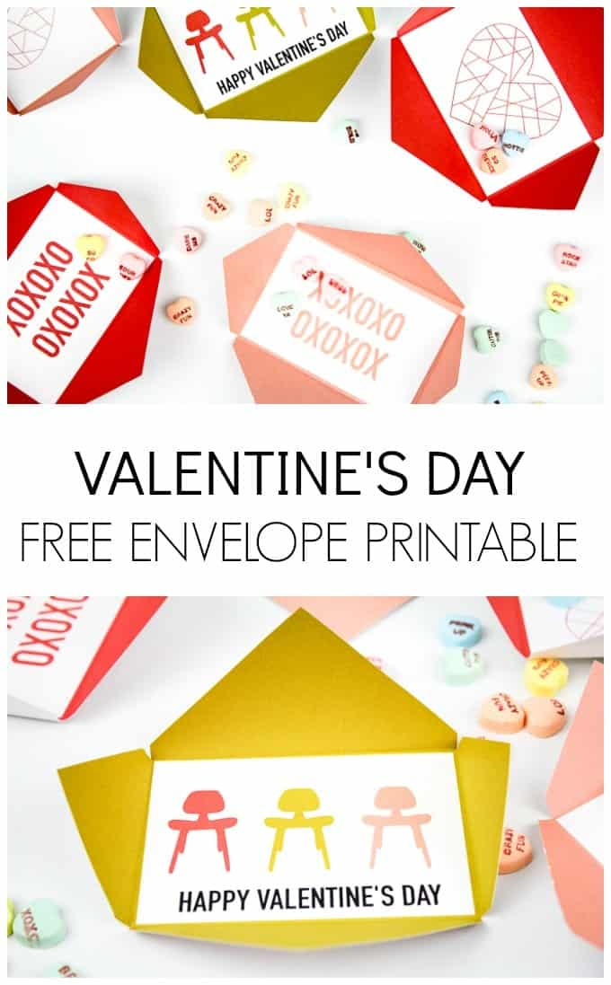 Valentine's Day Free Envelope Printables in various colors