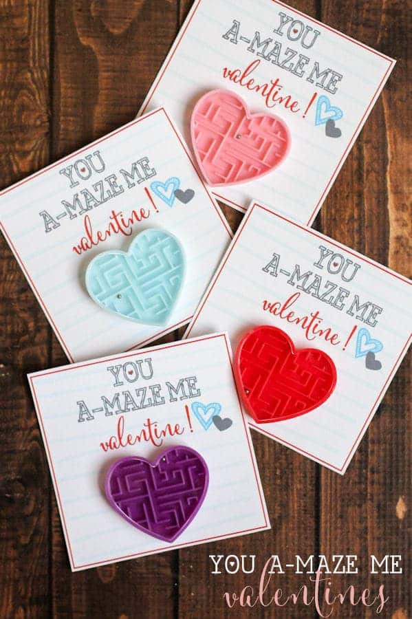 You A-Maze Me Valentines with heart shaped mini mazes attached to  Valentine's cards